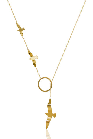 Gold Dipped Seagulls and Circle Necklace