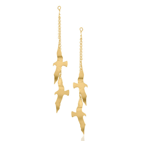 Gold Dipped Seagull Earrings