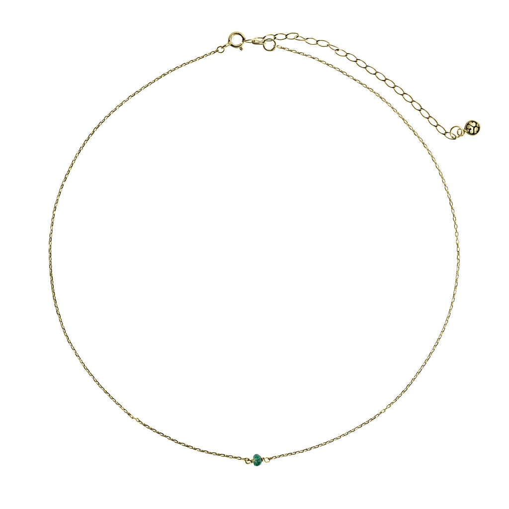 14K Gold choker with Emerald