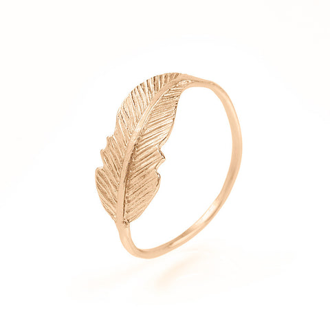 Ring Feather Pink Gold