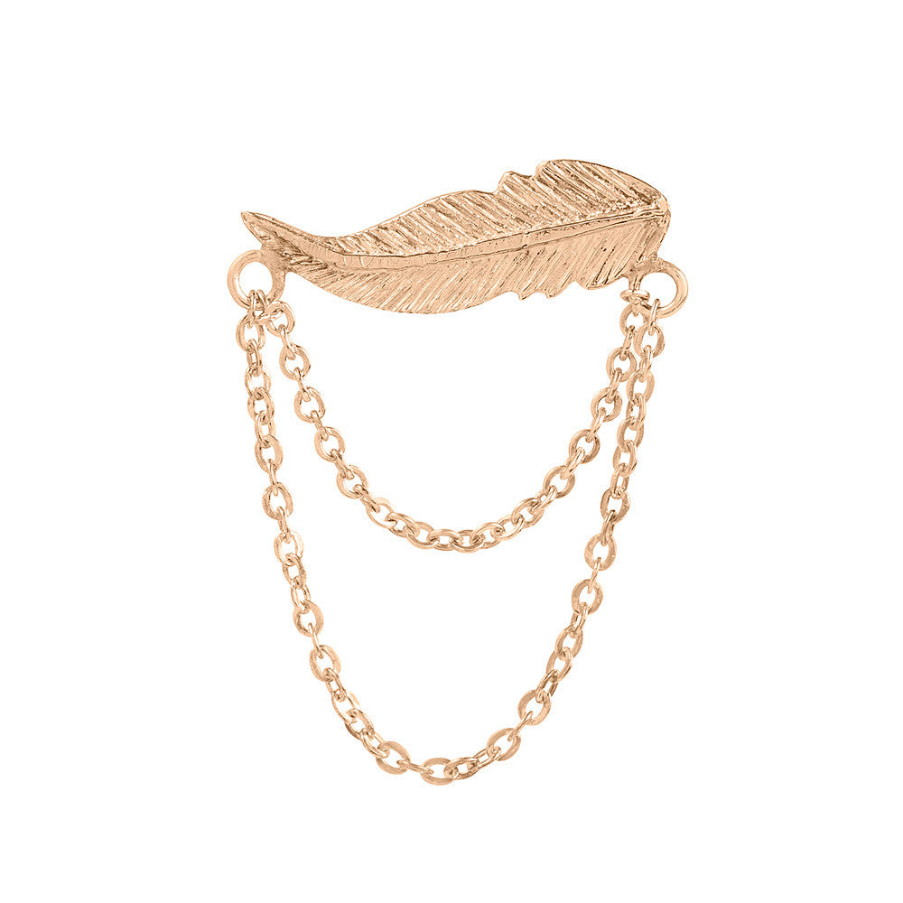 Earring Feather Chains Pink Gold