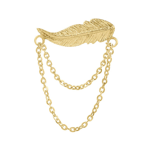 Earring Feather Chains Gold