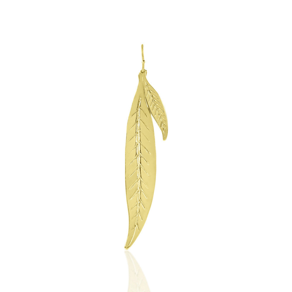 Gold Dipped Large and Small Leaf Earrings