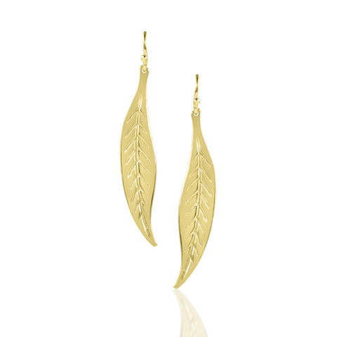 Medium Gold Dipped Leaf Earrings