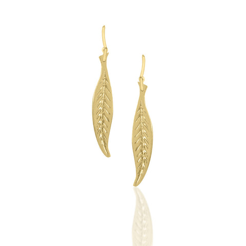 Gold Dipped Small Leaf Earrings