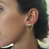14K Gold Feather and Chains Earring
