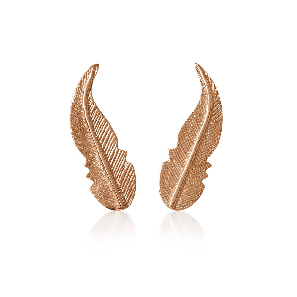 14K Rose Gold Feather Earrings