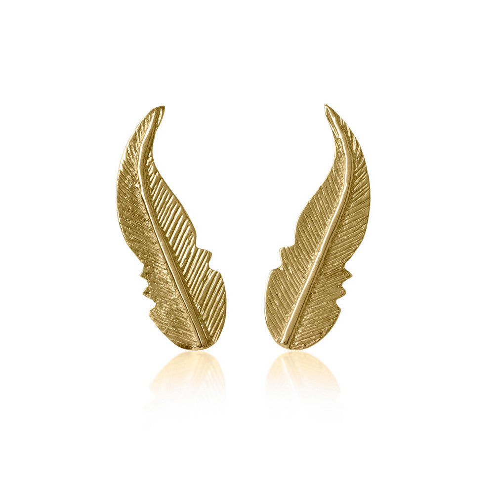 Earrings Feather Gold - Sophie Simone Designs