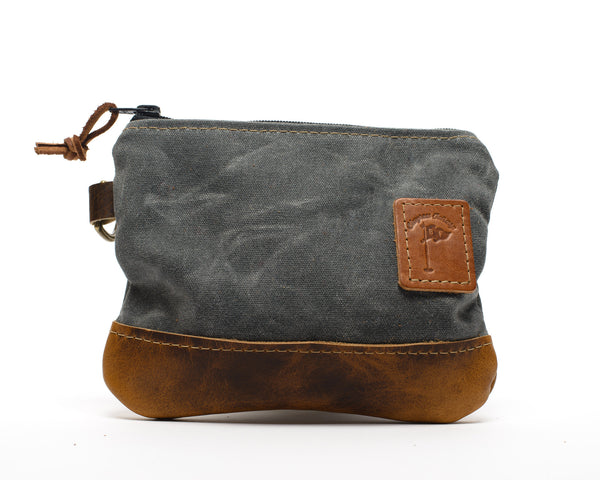 Waxed Canvas Zippered Golf Valuables Field Pouch in Charcoal Gray