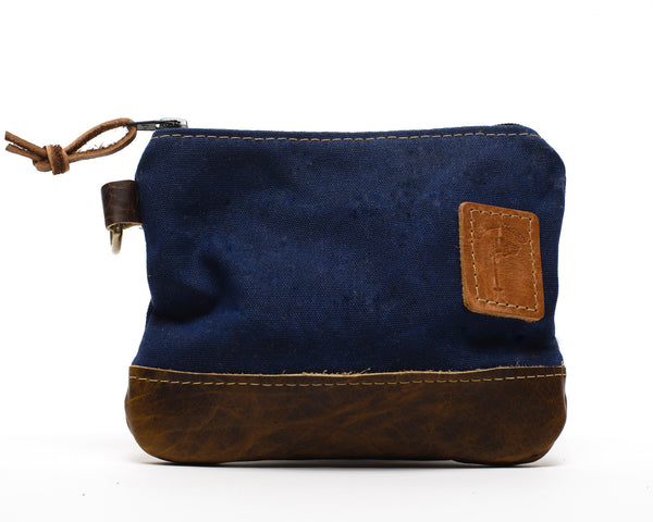 Waxed Canvas Zippered Golf Valuables Field Pouch in Navy