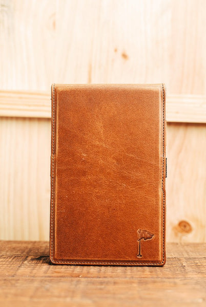 Horween Collection Leather Golf Scorecard Holder/ Yardage Book in Dublin Cognac