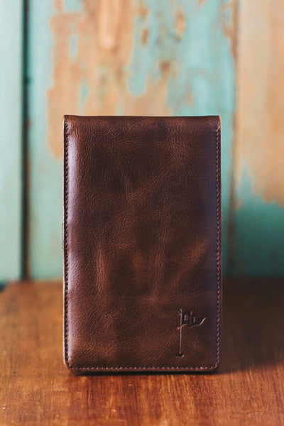 Handmade Leather Golf Scorecard Holder / Yardage Book in Vintage Bourbon