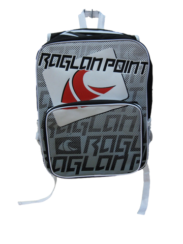 Raglan Point Large Twin Pocket College Pack - Black/Silver/White