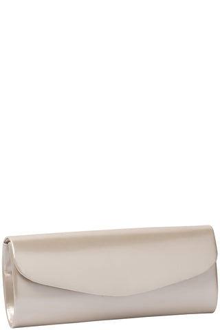 Horizontal Patent Look Clutch - Nude