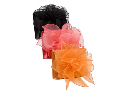 Black Organza Flower Evening Bag