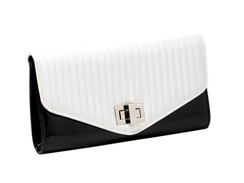 Black & White Patent Look Evening Bag