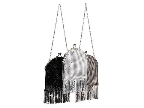 Sequin Evening Bag With Sequin Tassels  - Black