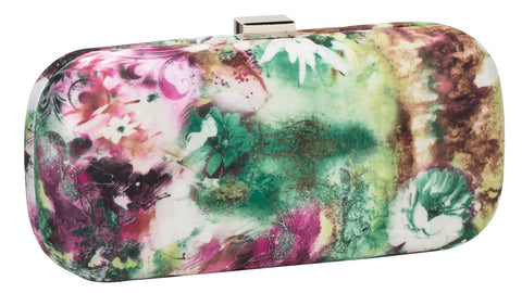 Hardcase Printed Clutch - Green Floral