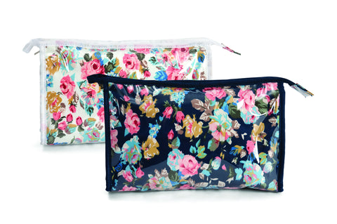 Floral Cosmetic Bag Navy