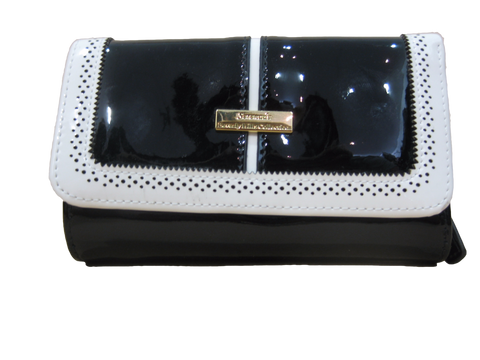 Serenade Patent Leather Wallet - Black/White Contrast