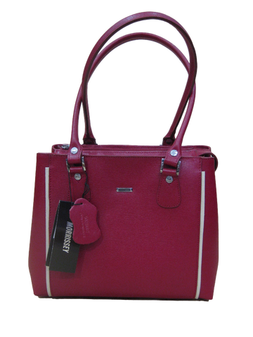 Leather Multi Compartment Handbag - Red