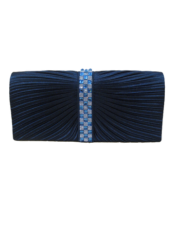 Horizontal Textured Evening Clutch - Navy