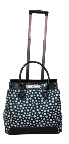 Trolley Case - Black With White Spots