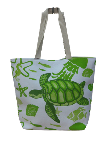 Turtle Print Tote Bag - Green