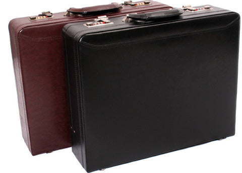 Expanding Leather Attache - Burgundy