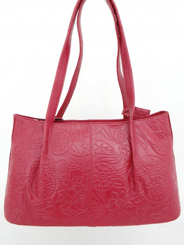Satch Embossed Handbag - Red