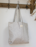 Linen Tote Bag in Lighthouse Ticking by Salt Living