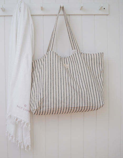 Oversized Linen Tote Bag | Lighthouse Ticking