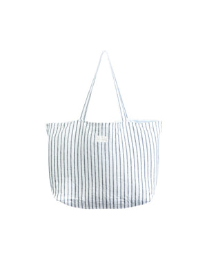 Oversized Linen Tote Bag in Lighthouse Ticking by Salt Living