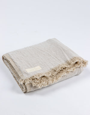 Bay Linen Throw Rug in Sandstone | Salt Living
