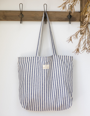 Linen Tote Bag in Indigo Stripe by Salt Living