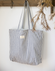 Linen Tote Bag in Indigo Stripe
