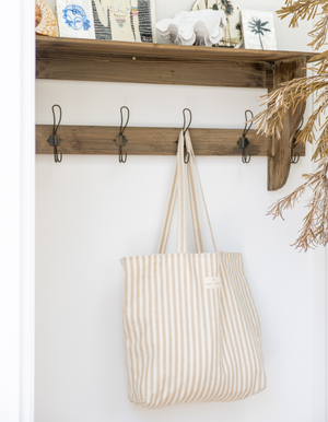 Linen Tote Bag in Sand Stripe by Salt Living