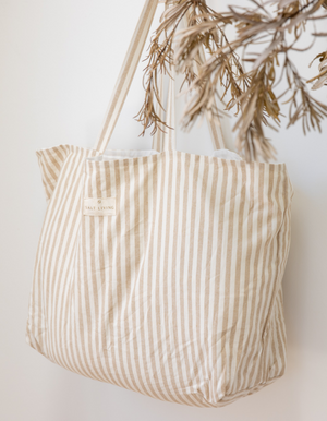 Oversized Linen Tote Bag in Sand Stripe by Salt Living