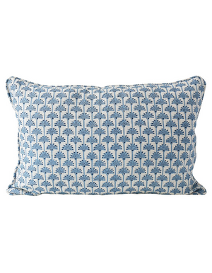 Ponza Linen Cushion in Azure 35 x 55cm by Walter G Textiles | Hand Block Printed