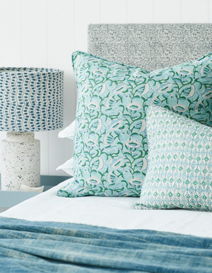 Condesa Linen Cushion in Emerald 35 x 55cm by Walter G Textiles | Hand Block Printed