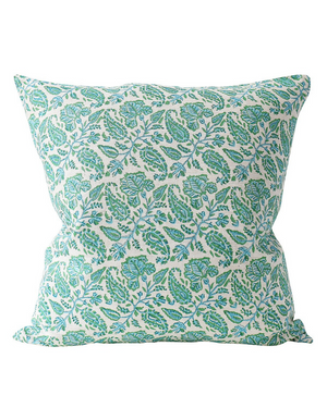 Chintz Linen Cushion in Emerald 50cm by Walter G Textiles | Hand Block Printed