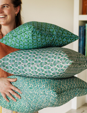 Ponza Linen Cushion in Emerald 30x45cm By Walter G Textiles | Hand Block Printed