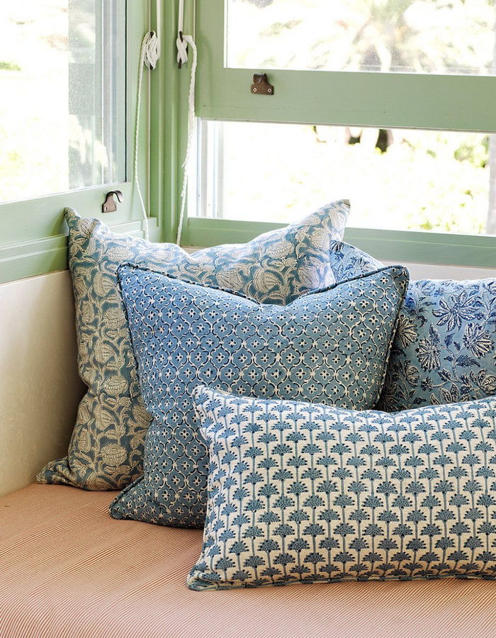 Alcazar Linen Cushion in Azure 50cm by Walter G Textiles | Hand Block Printed