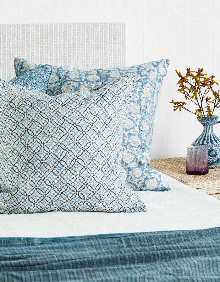 Marbella Linen Cushion in Azure 55cm by Walter G Textiles | Hand Block Printed