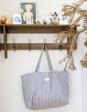 Oversized Linen Tote Bag in Indigo Stripe by Salt Living