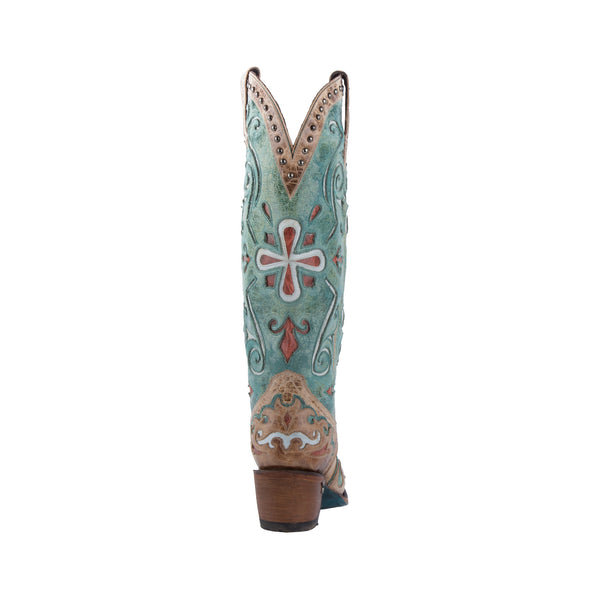 Clover Girl Cowboy Boot in Tan and Turquoise by Lane Boots