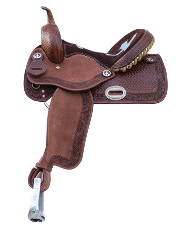 Cutout Inlaid Seat Barrel Racing Saddle by Alamo Saddlery