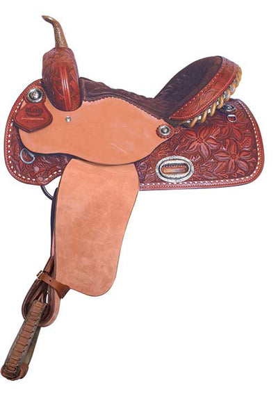 Buckstitch Flower Barrel Racing Saddle by Alamo Saddlery
