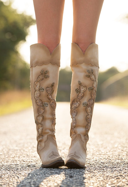 18b42d3ea45 Hard to Handle Over the Knee Cowboy Boot in Cream (by Lane Boots for ...