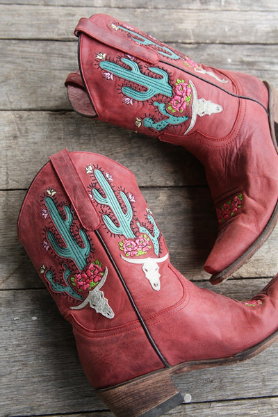 Bramble Rose Cowboy Boot in Red by Junk Gypsy Co.